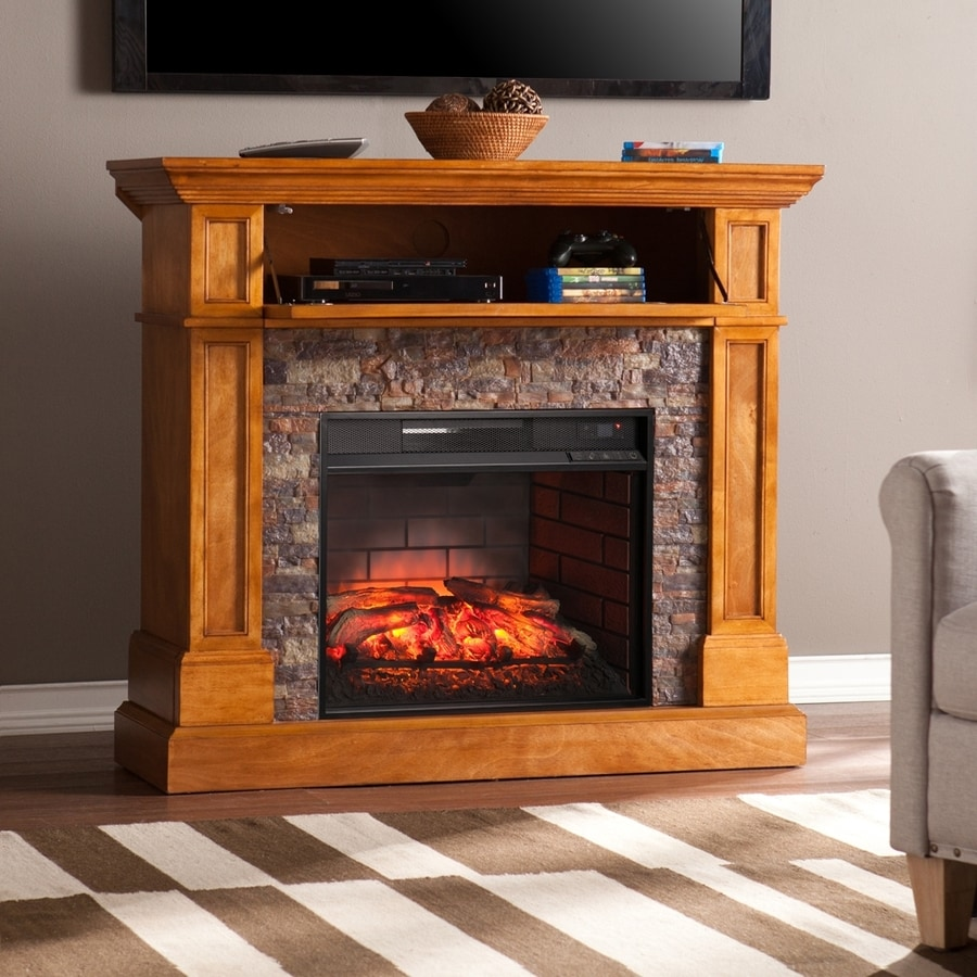 Shop boston loft furnishings 45.5-in w 5000-btu sienna mdf corner or flat wall infrared quartz electric fireplace yes- media convertible thermostat remote control included in the electric fireplaces section of Lowes.com
