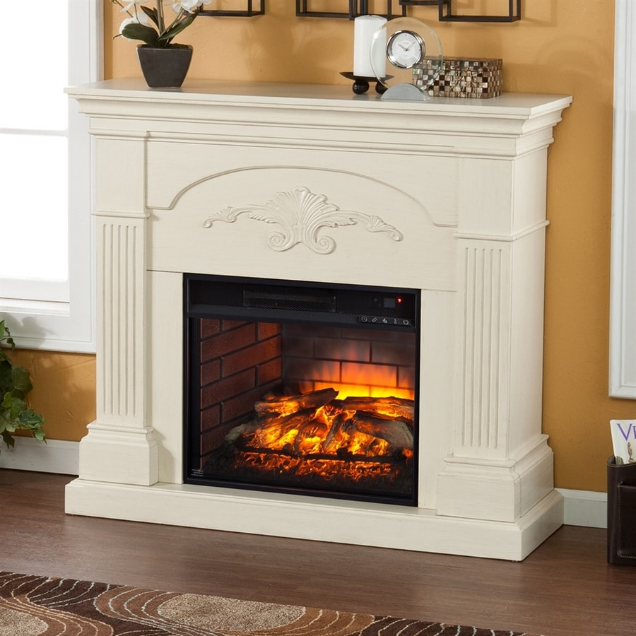Boston Loft Furnishings 44.75-in W Ivory MDF Infrared Quartz Electric Fireplace with Thermostat and Remote Control