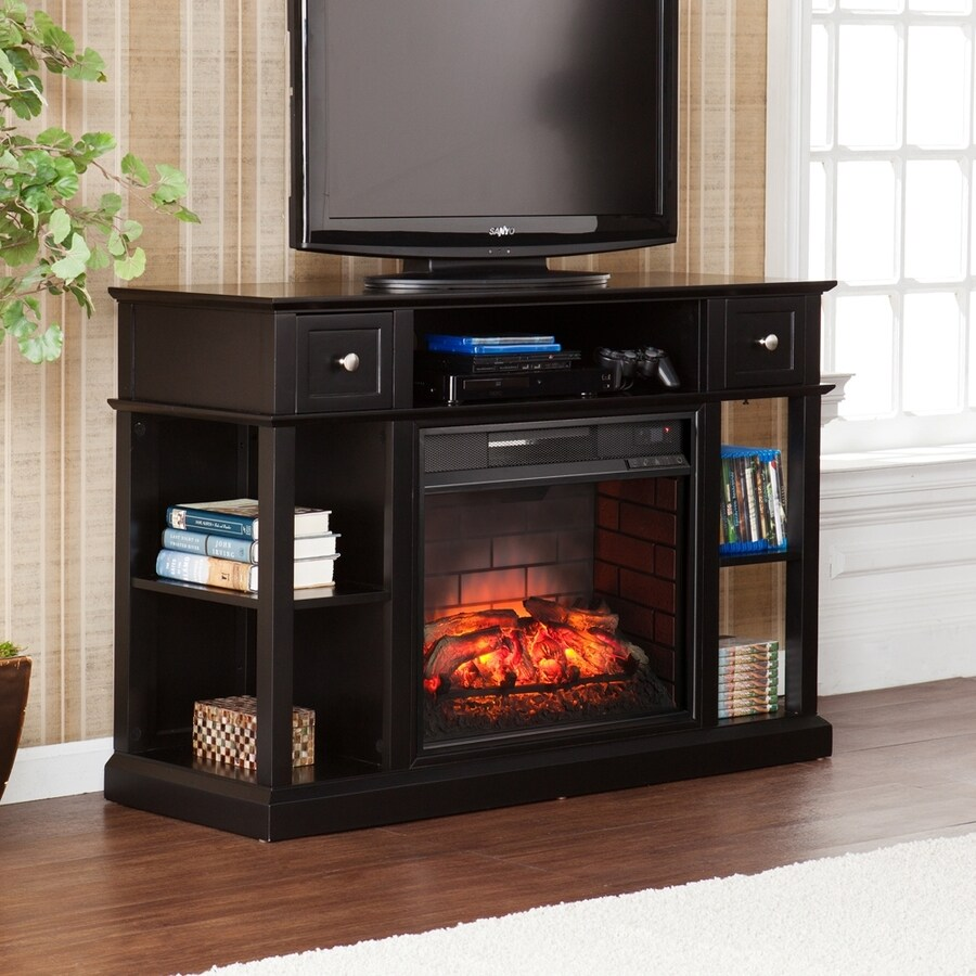 Boston Loft Furnishings 47.75-in W Black MDF Infrared Quartz Electric Fireplace with Thermostat and Remote Control