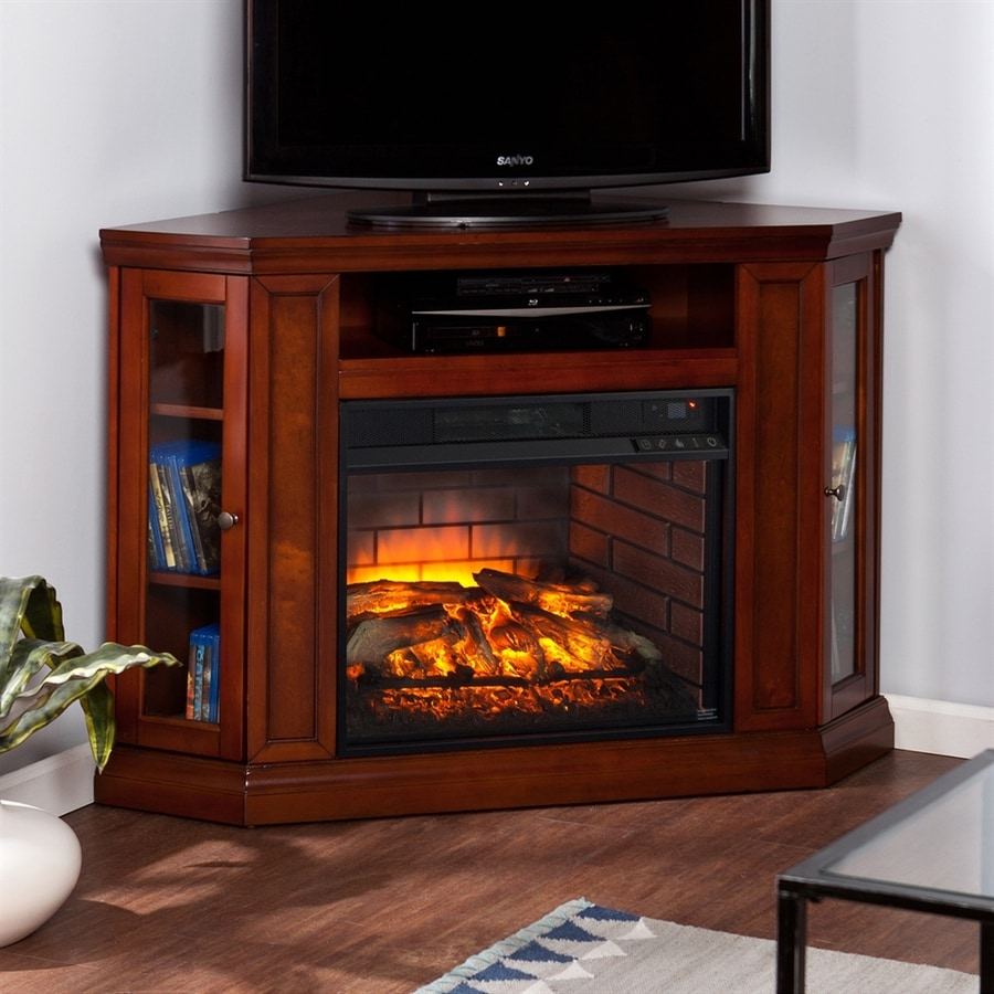Boston Loft Furnishings 48-in W Mahogany MDF Infrared Quartz Electric Fireplace with Thermostat and Remote Control