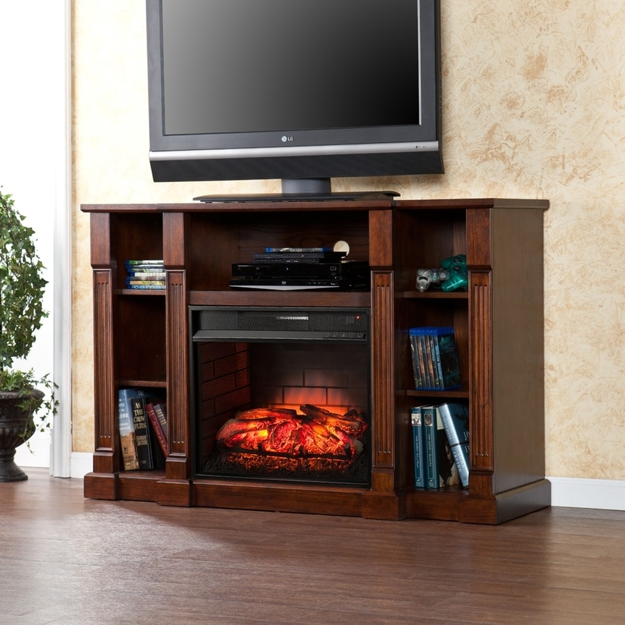 Boston Loft Furnishings 52-in W Espresso MDF Infrared Quartz Electric Fireplace with Thermostat and Remote Control