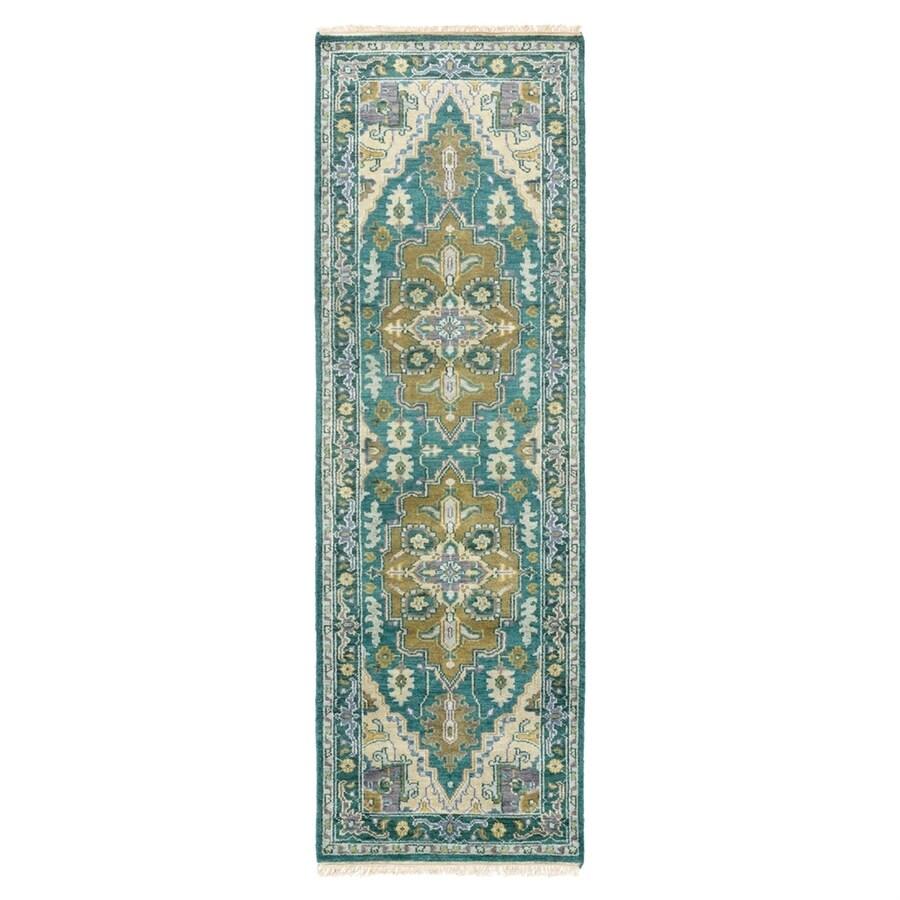 Surya Zeus Blue Rectangular Indoor Hand-Knotted Oriental Runner (Common: 2 x 8; Actual: 30-in W x 96-in L)