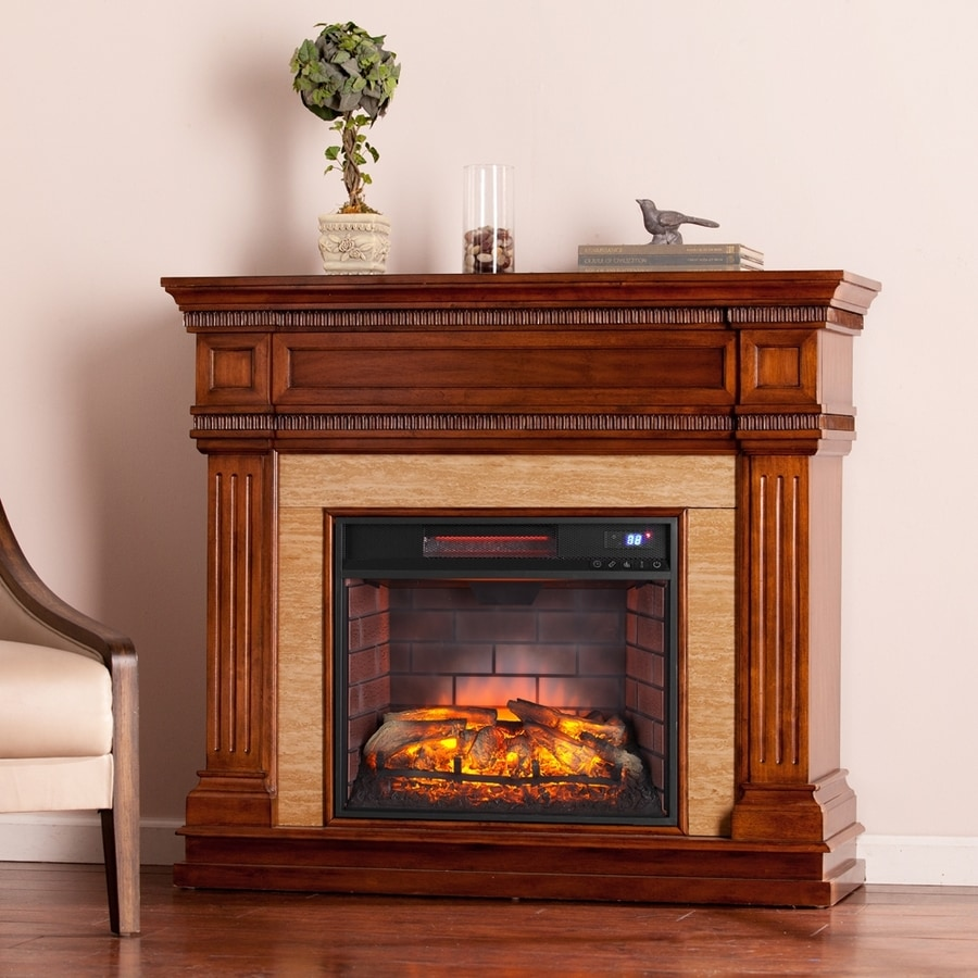 Boston Loft Furnishings 45.5-in W Oak Saddle MDF Infrared Quartz Electric Fireplace with Thermostat and Remote Control
