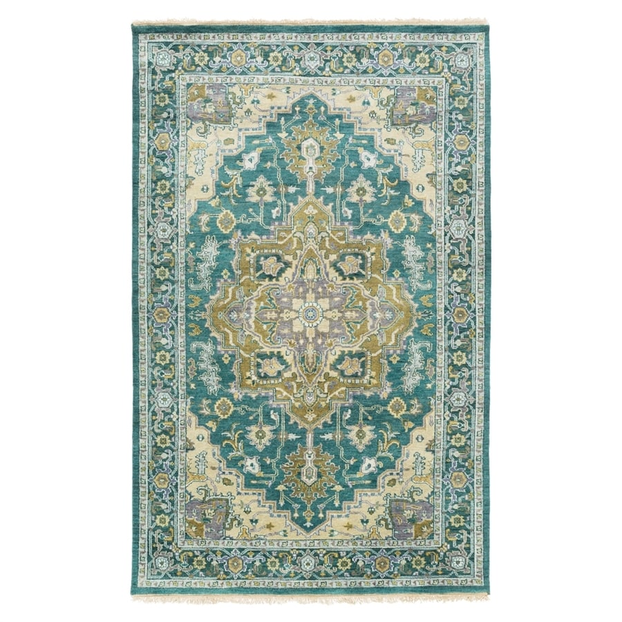 Surya Zeus Blue Rectangular Indoor Hand-Knotted Oriental Area Rug (Common: 5 x 8; Actual: 5.5-ft W x 8.5-ft L)
