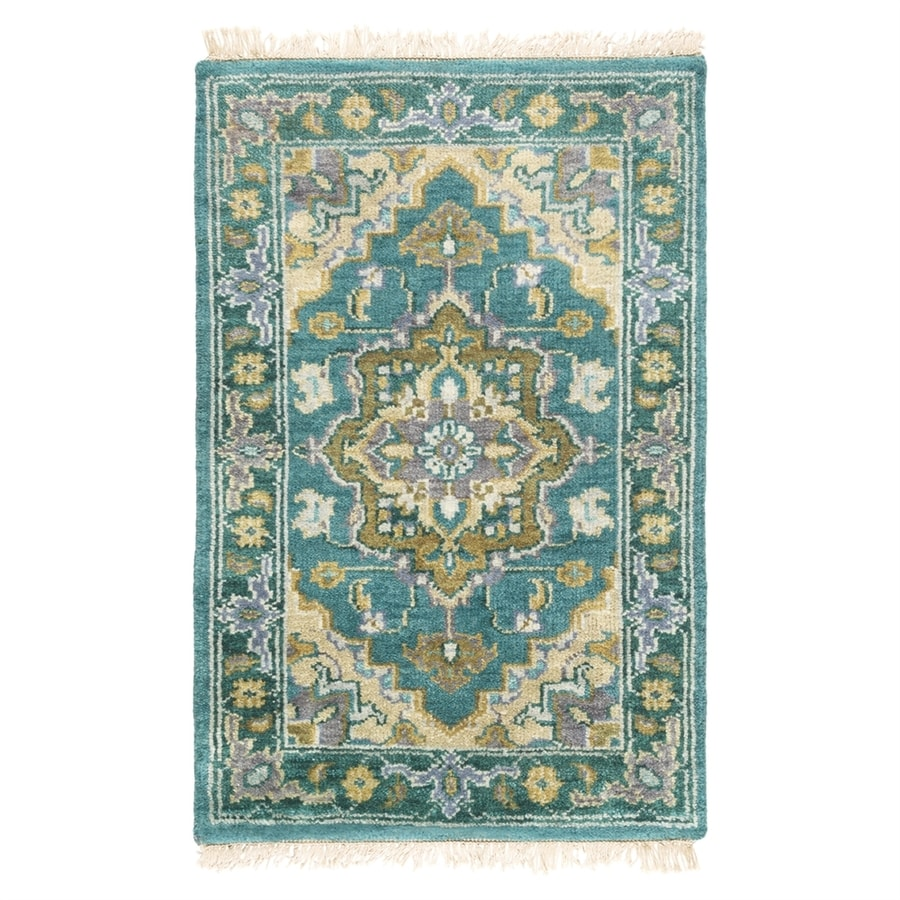 Surya Zeus Blue Rectangular Indoor Hand-Knotted Oriental Area Rug (Common: 7 x 9; Actual: 7.75-ft W x 9.75-ft L)