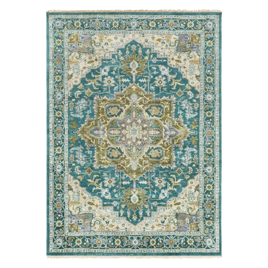 Surya Zeus Blue Rectangular Indoor Hand-Knotted Oriental Area Rug (Common: 8 x 11; Actual: 8-ft W x 11-ft L)