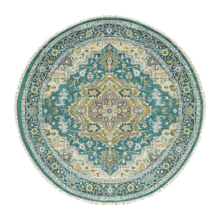 Surya Zeus Blue Round Indoor Hand-Knotted Oriental Area Rug (Actual: 8-ft Dia)