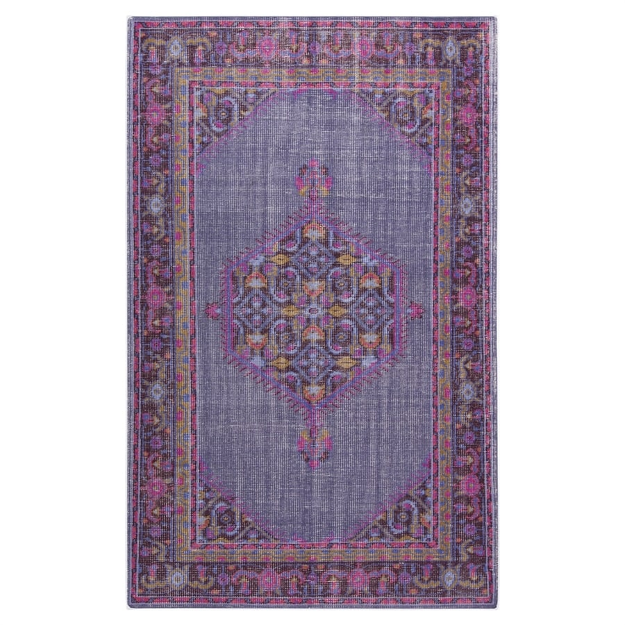 Surya Zahara Purple Rectangular Indoor Hand-Knotted Oriental Area Rug (Common: 5 x 8; Actual: 5.5-ft W x 8.5-ft L)