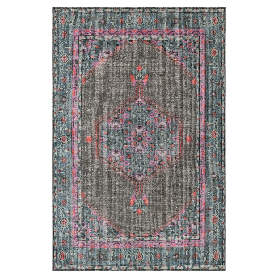 Surya Zahara Gray Rectangular Indoor Hand-Knotted Oriental Area Rug (Common: 5 x 8; Actual: 66-in W x 102-in L)