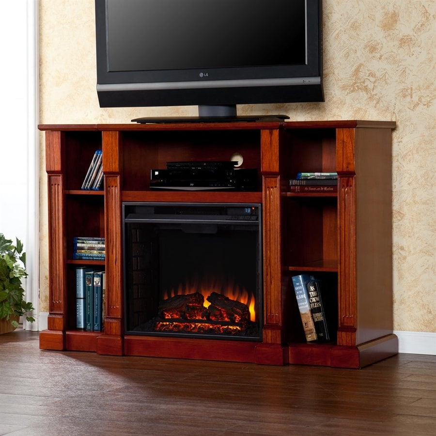 Boston Loft Furnishings 52-in W Classic Mahogany MDF LED Electric Fireplace with Thermostat and Remote Control