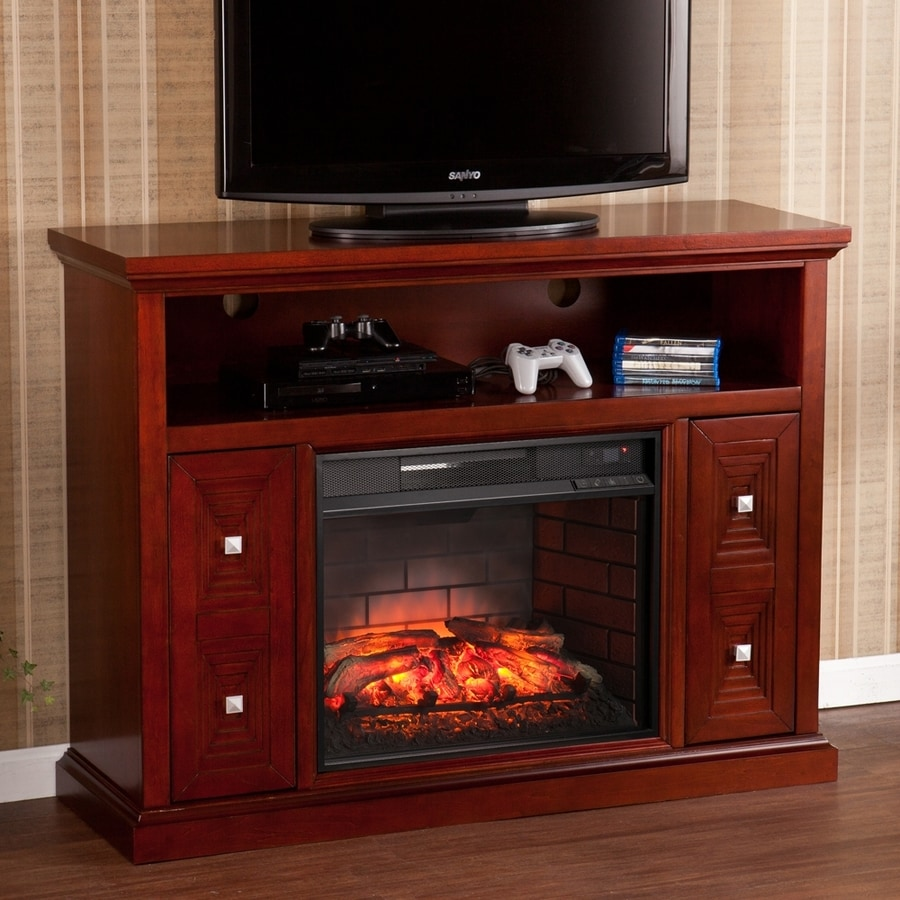 Boston Loft Furnishings 47.75-in W Rich Cherry MDF Infrared Quartz Electric Fireplace with Thermostat and Remote Control