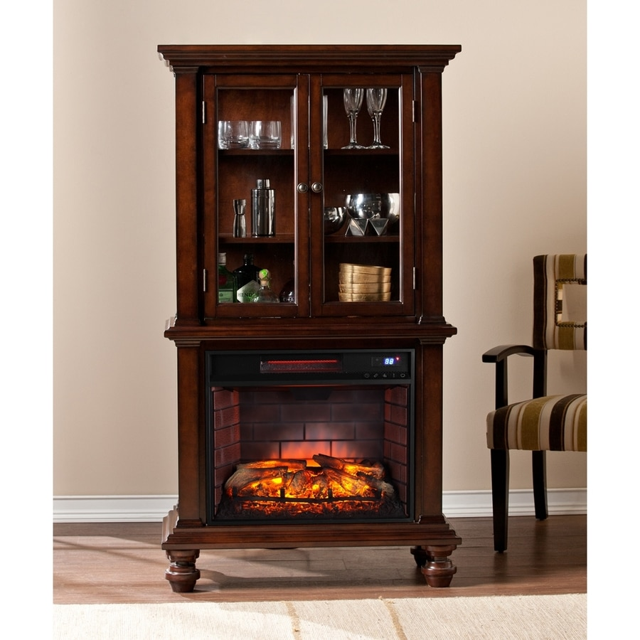 Boston Loft Furnishings 33.25-in W Espresso Infrared Quartz Electric Fireplace with Thermostat and Remote Control