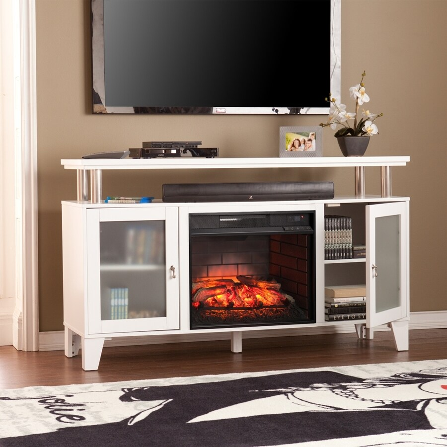Boston Loft Furnishings 60-in W White MDF Infrared Quartz Electric Fireplace with Thermostat and Remote Control