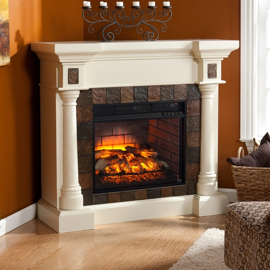 Boston Loft Furnishings 44.5-in W Ivory MDF Infrared Quartz Electric Fireplace with Thermostat and Remote Control