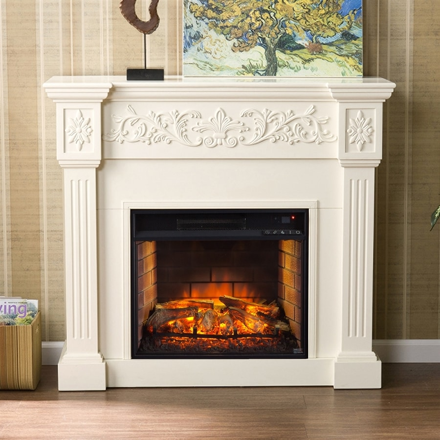 Boston Loft Furnishings 44.5-in W Ivory Infrared Quartz Electric Fireplace with Thermostat and Remote Control