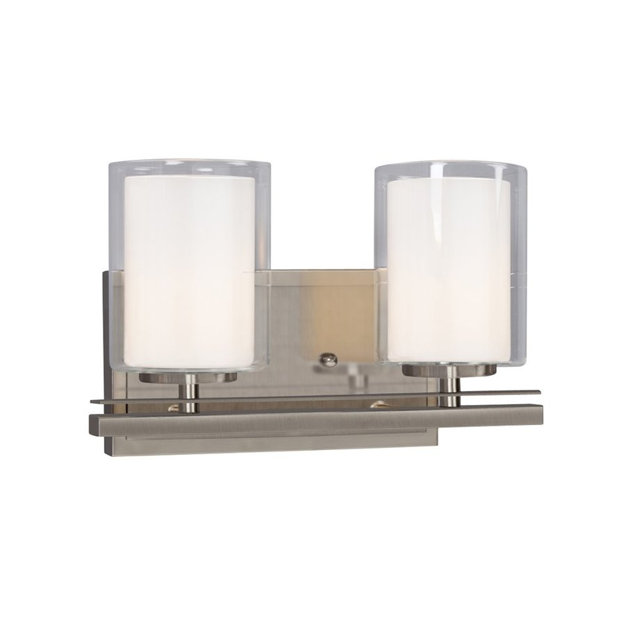 Galaxy Bradley 2-Light 7.75-in Brushed Nickel Cylinder Vanity Light