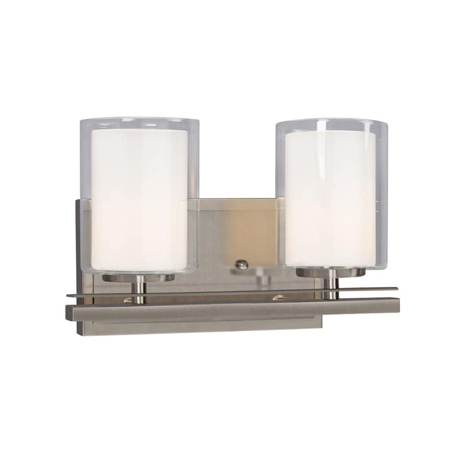 Vanity Lights In Brushed Nickel : Shop Galaxy Bradley 2-Light 7.75-in Brushed Nickel Cylinder Vanity Light at Lowes.com