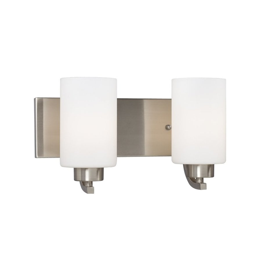 Galaxy Pittman 2-Light 7.75-in Brushed Nickel Cylinder Vanity Light