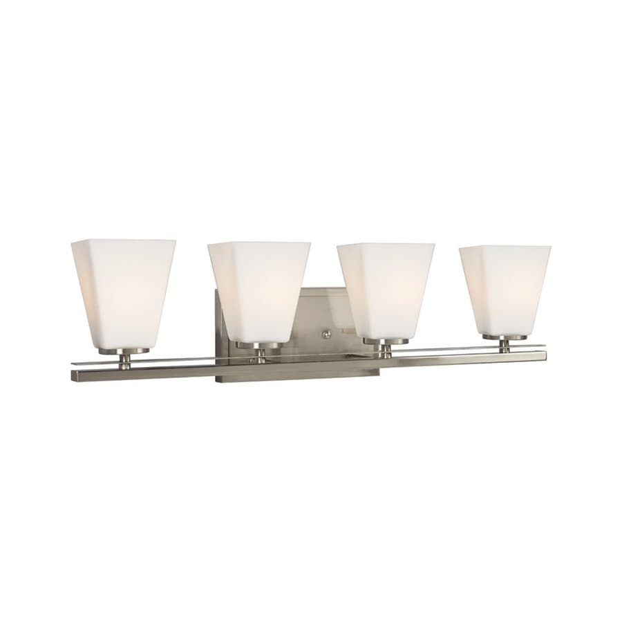 Galaxy Bradley II 4-Light 7.5-in Brushed Nickel Bell Vanity Light