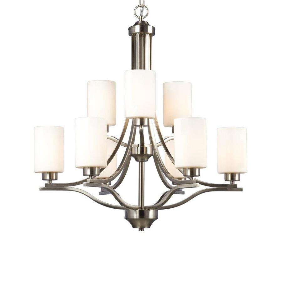 Galaxy Pittman 28-in 9-Light Brushed Nickel Tiered Chandelier