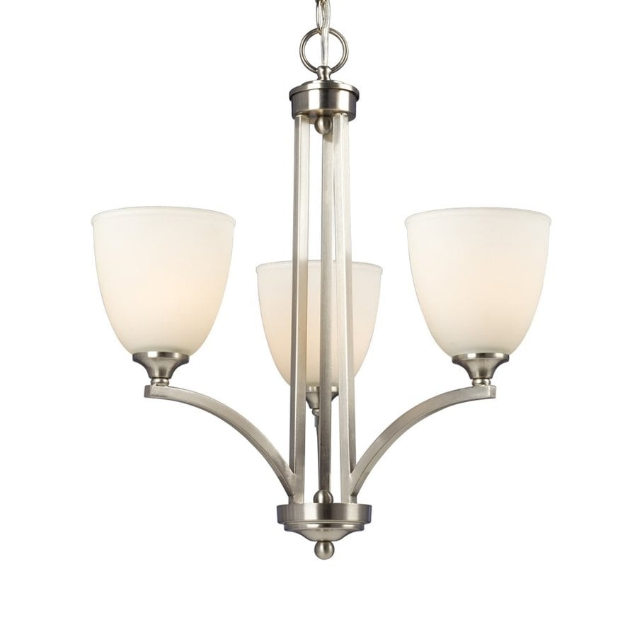 Galaxy Creston 19-in 3-Light Brushed Nickel Shaded Chandelier