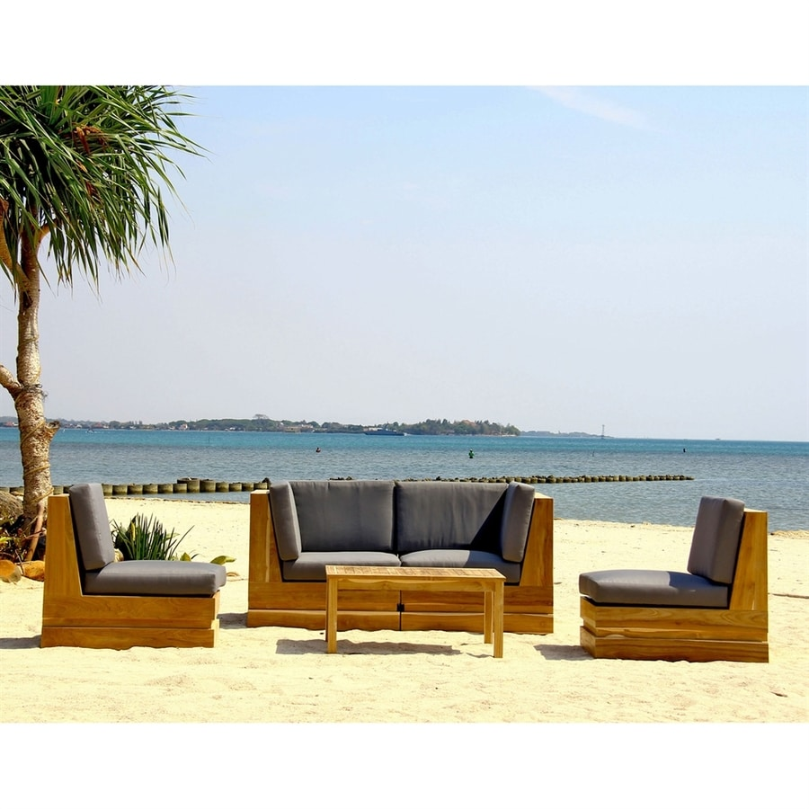 Pacific Coast Luxury Seaside 4-Piece Teak Patio Conversation Set