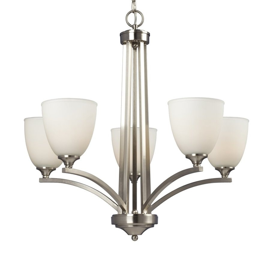 Galaxy Creston 26-in 5-Light Brushed Nickel Shaded Chandelier