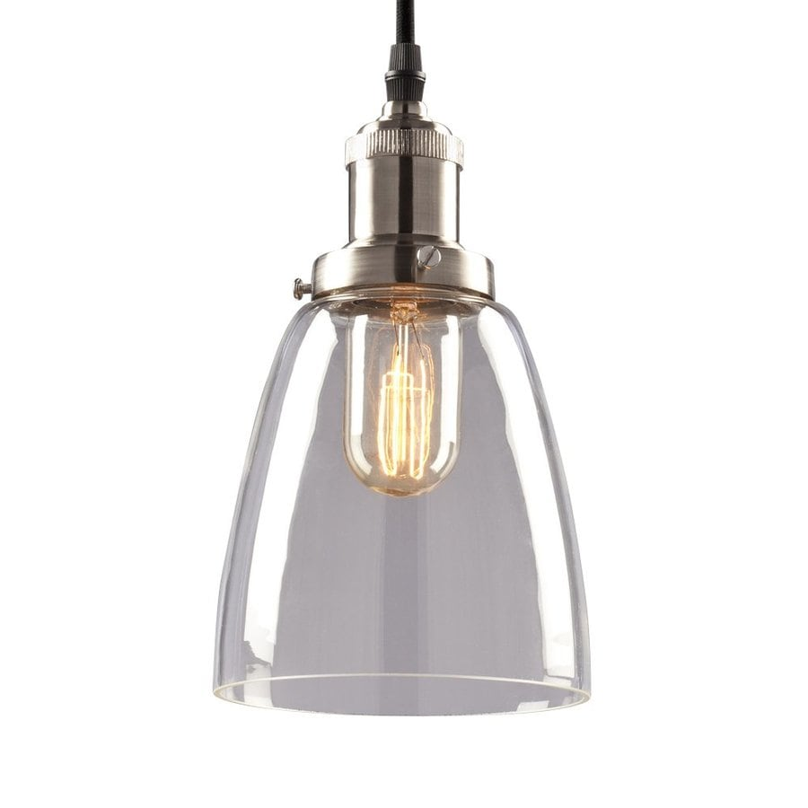 Galaxy 6-in Brushed Nickel Industrial Mini Clear Glass Bell Pendant