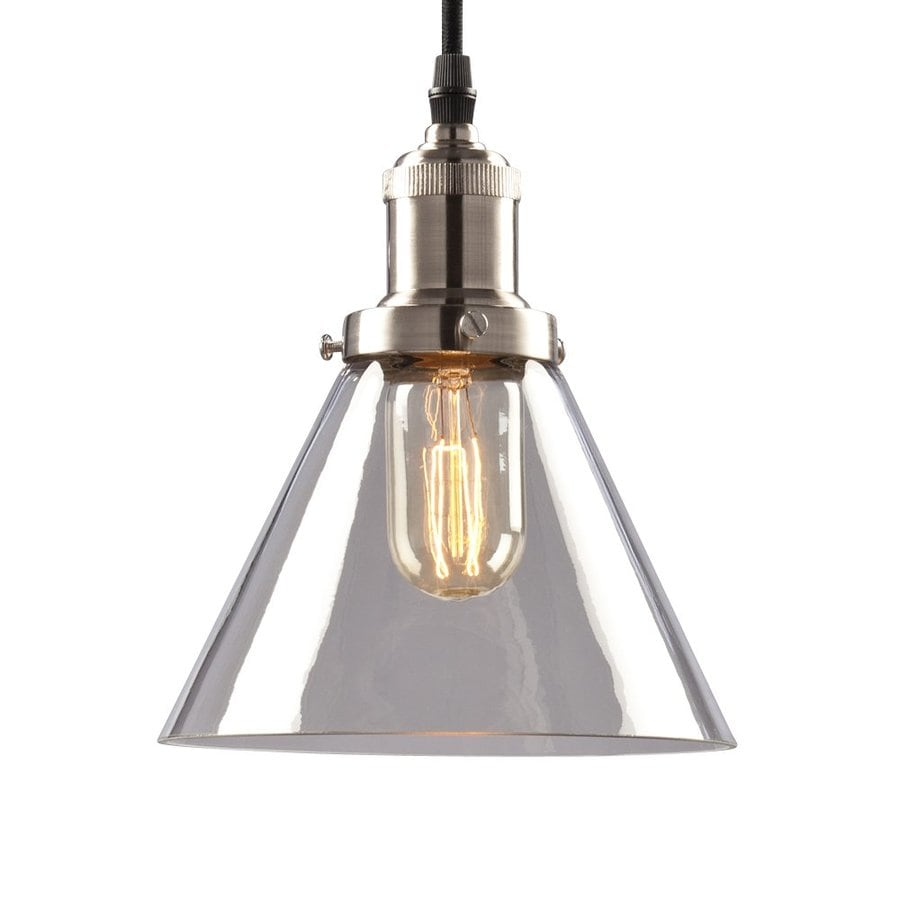 Galaxy 7-in Brushed Nickel Industrial Mini Clear Glass Cone Pendant
