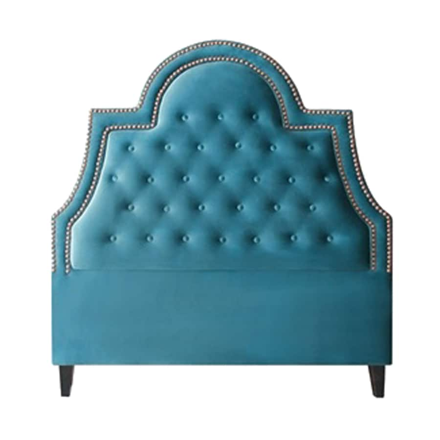 My Chic Nest Amanda Peacock Blue King Velvet Upholstered Headboard