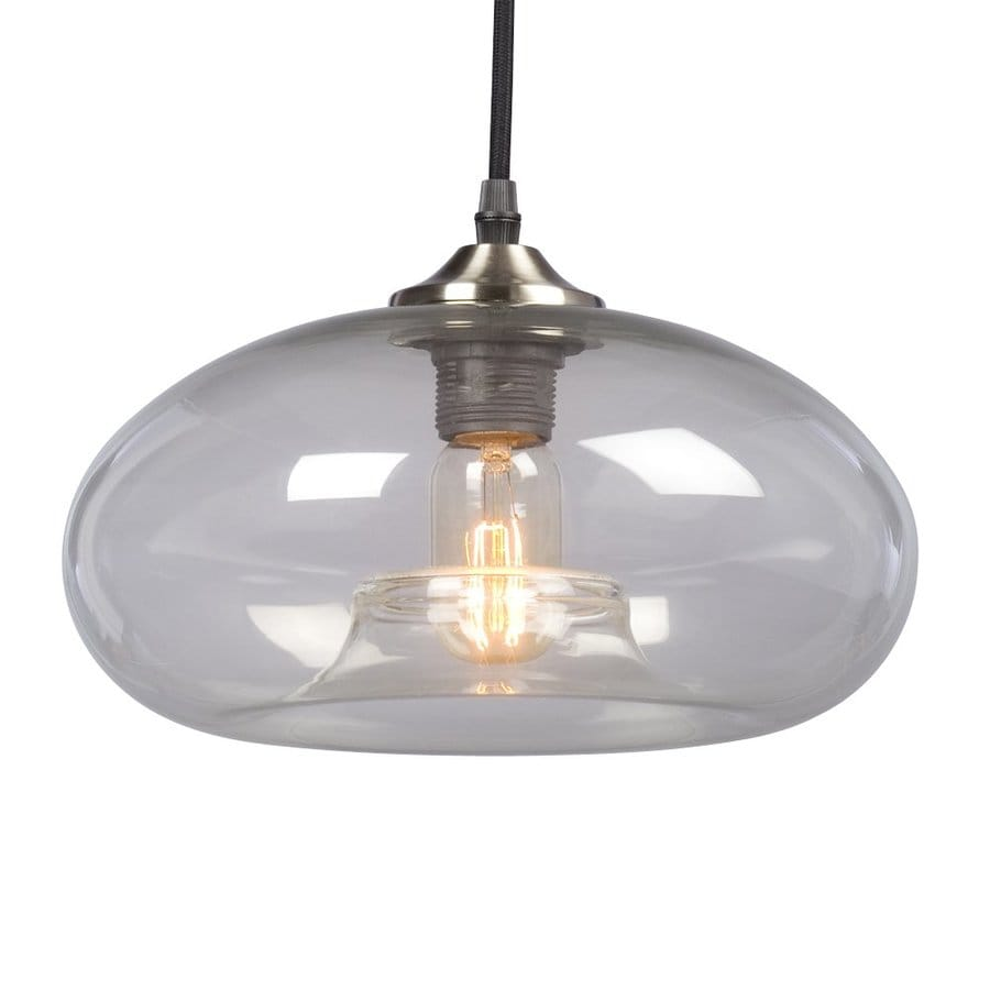 Galaxy 10.75-in Brushed Nickel Industrial Single Clear Glass Dome Pendant
