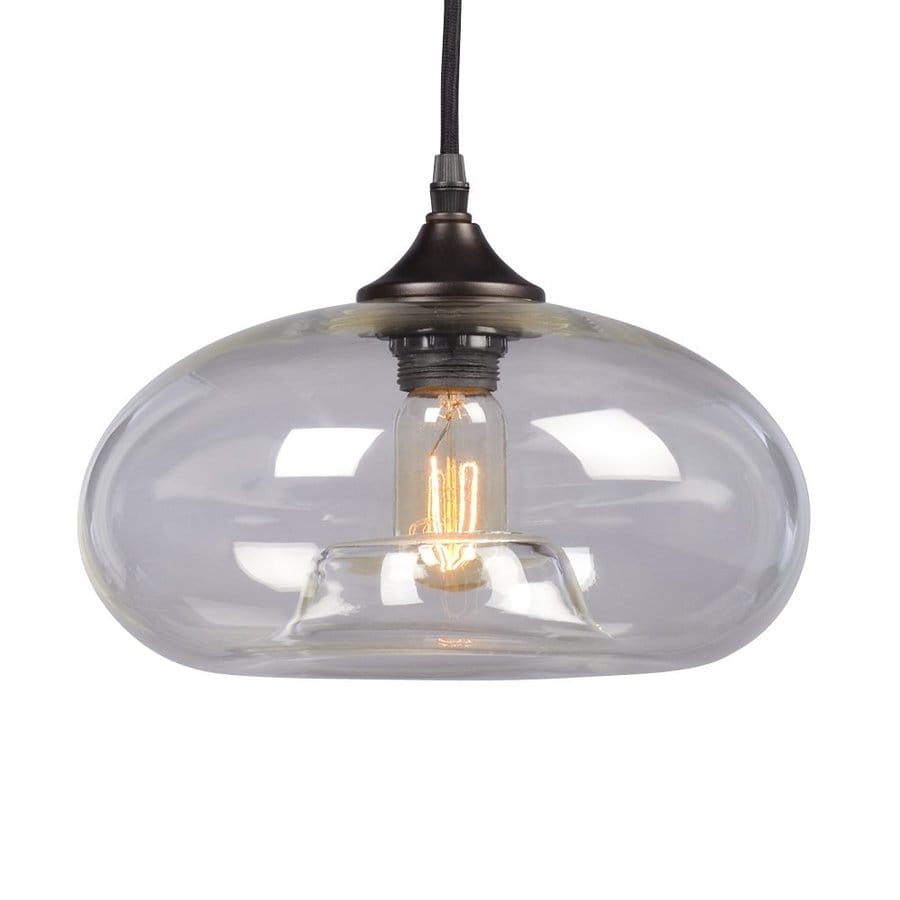 Galaxy 11-in Bronze Industrial Single Clear Glass Dome Pendant