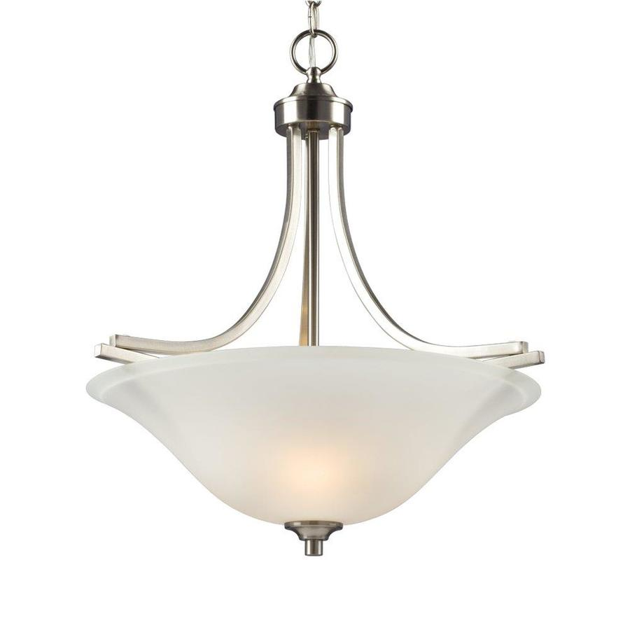 Galaxy Pittman 20-in Brushed Nickel Single Etched Glass Bowl Pendant