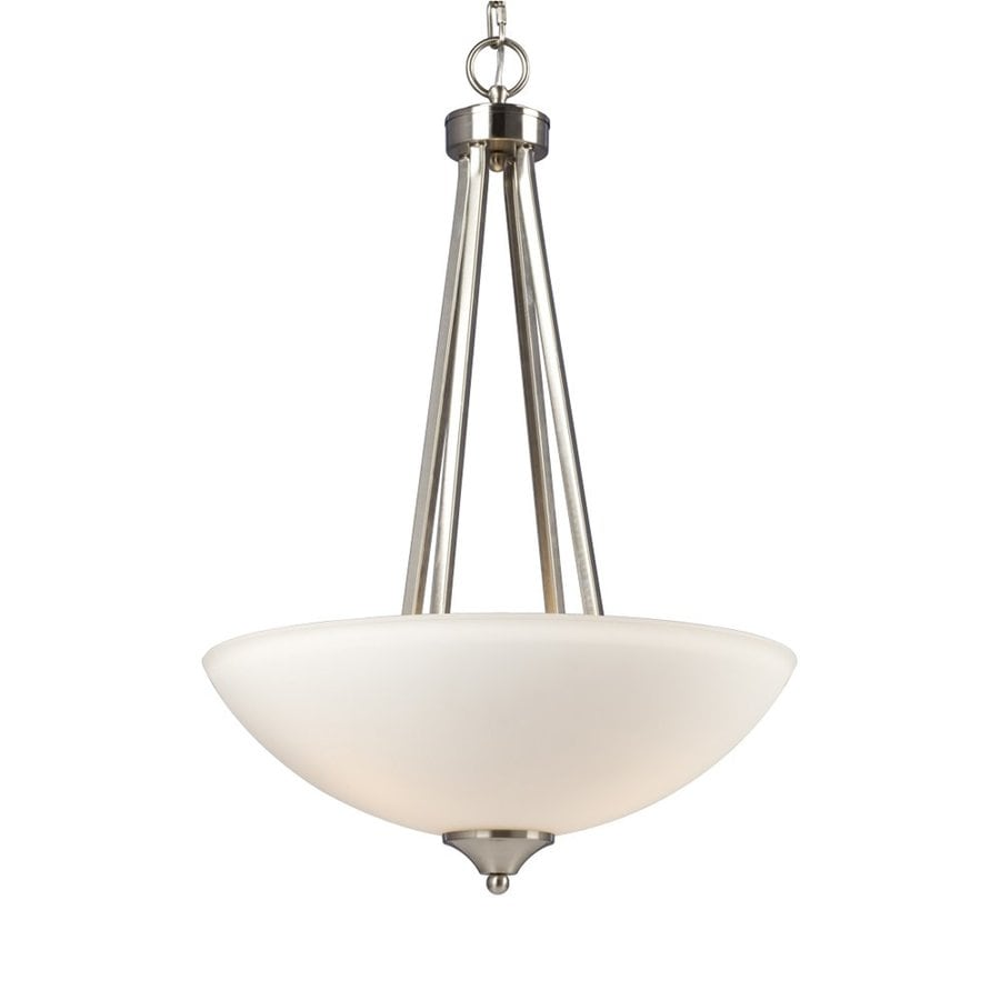 Galaxy Creston 17.75-in Brushed Nickel Single Etched Glass Bowl Pendant
