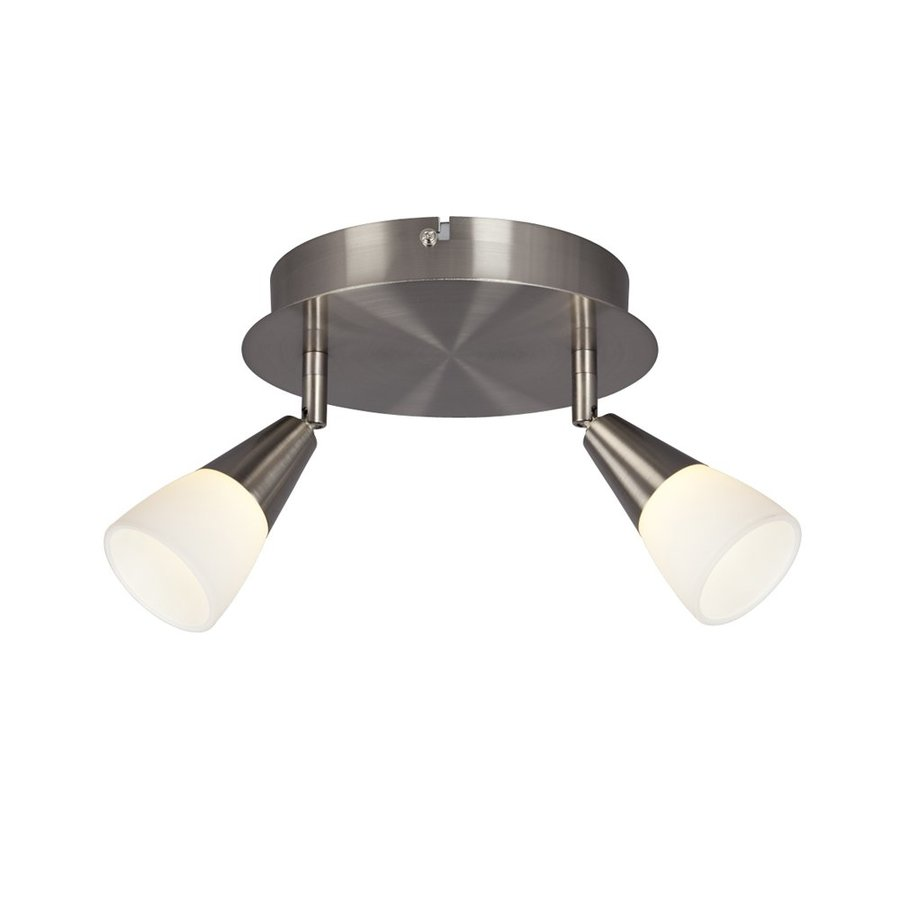 Galaxy Genus 8.25-in W Brushed Nickel Frosted Glass LED Semi-Flush Mount Light