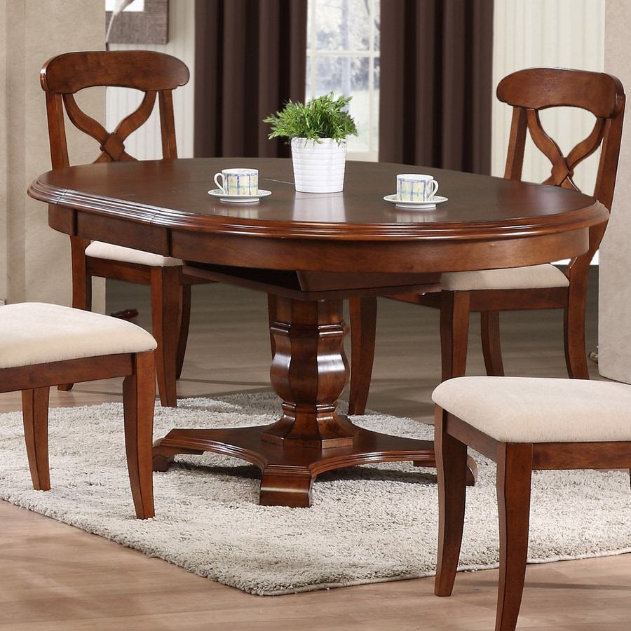 Shop sunset trading andrews wood extending dining table at for Round wood dining table with leaf