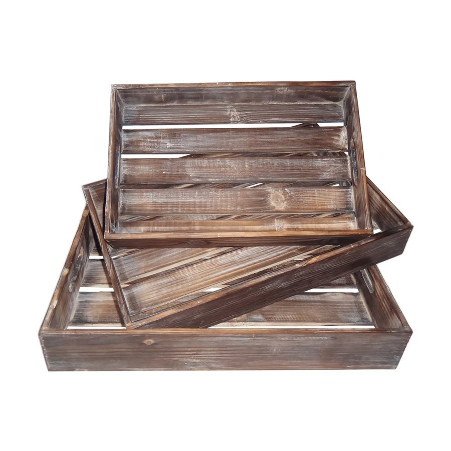 Cheung's Set of 3 Wood Slatted Trays