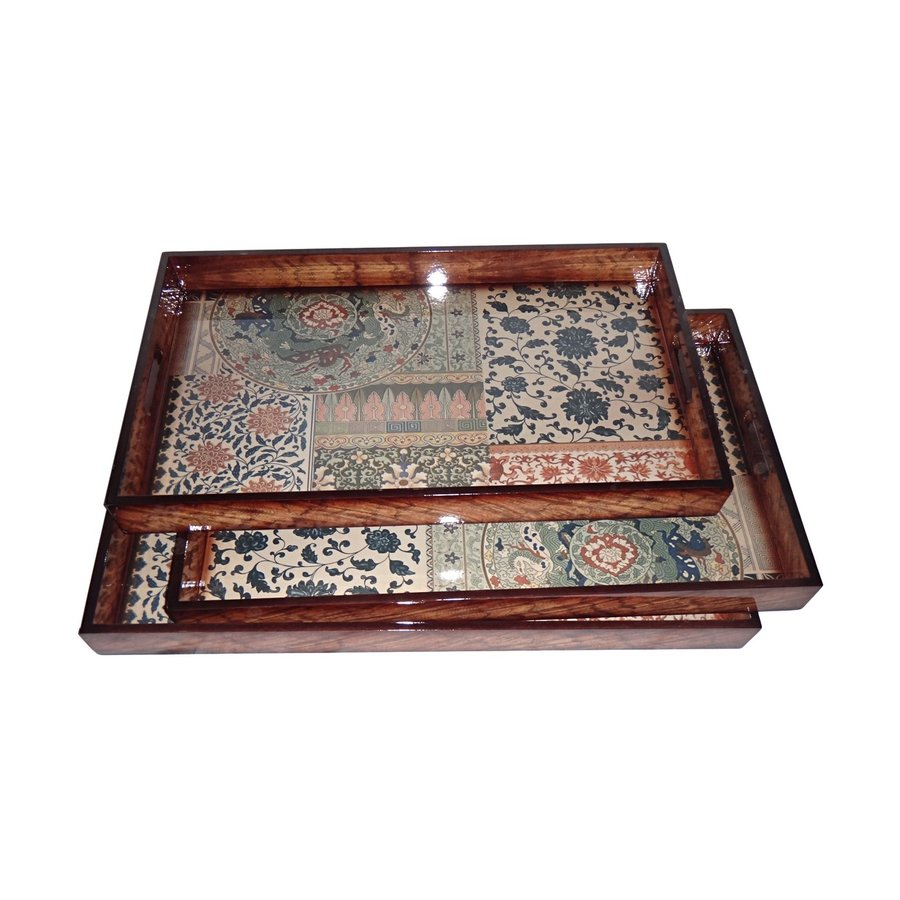 Cheung's Set of 3 Divided Wood Rectangular Serving Trays
