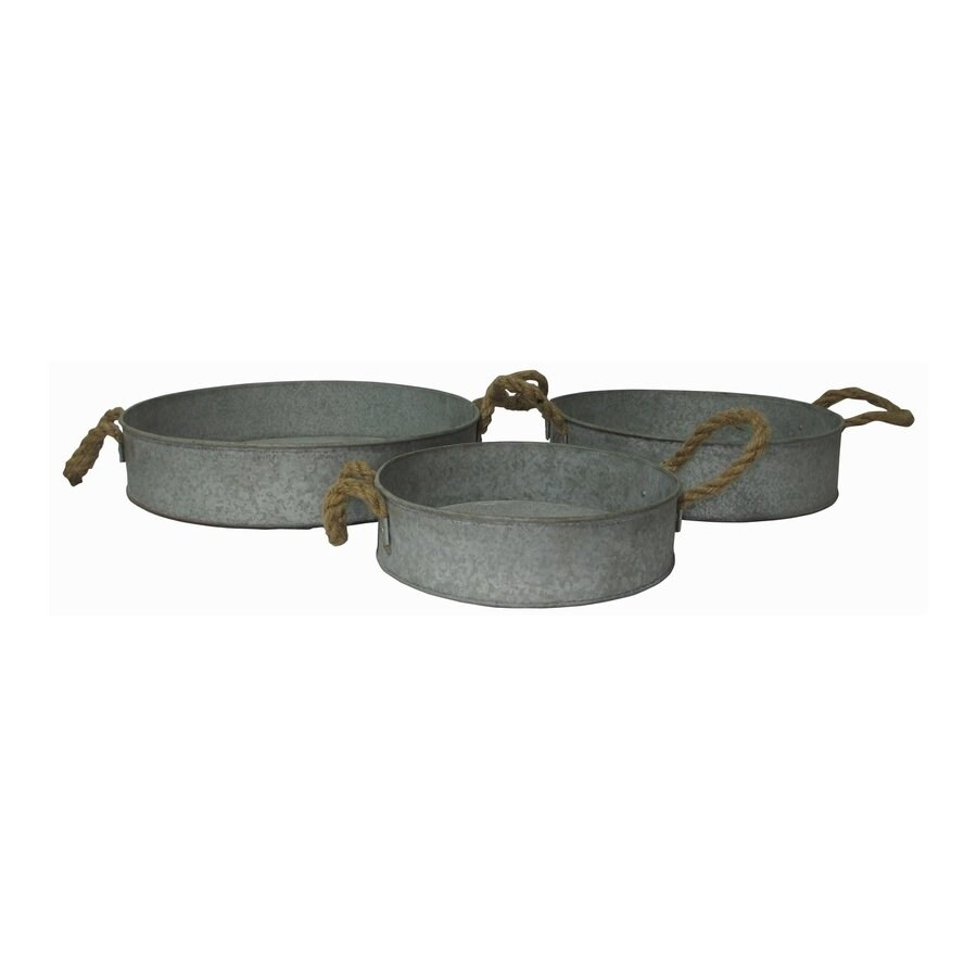 Cheung's Set of 3 Galvanized Metal and Rope Trays