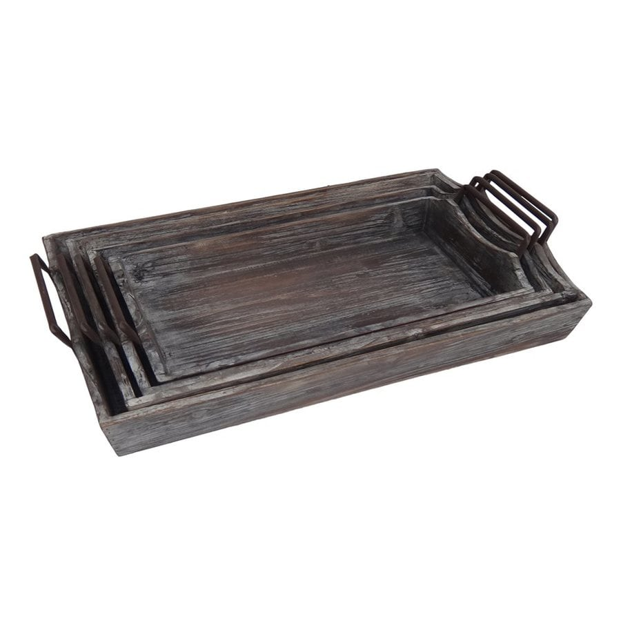 Cheung's Set of 4 Wood Rectangular Serving Trays