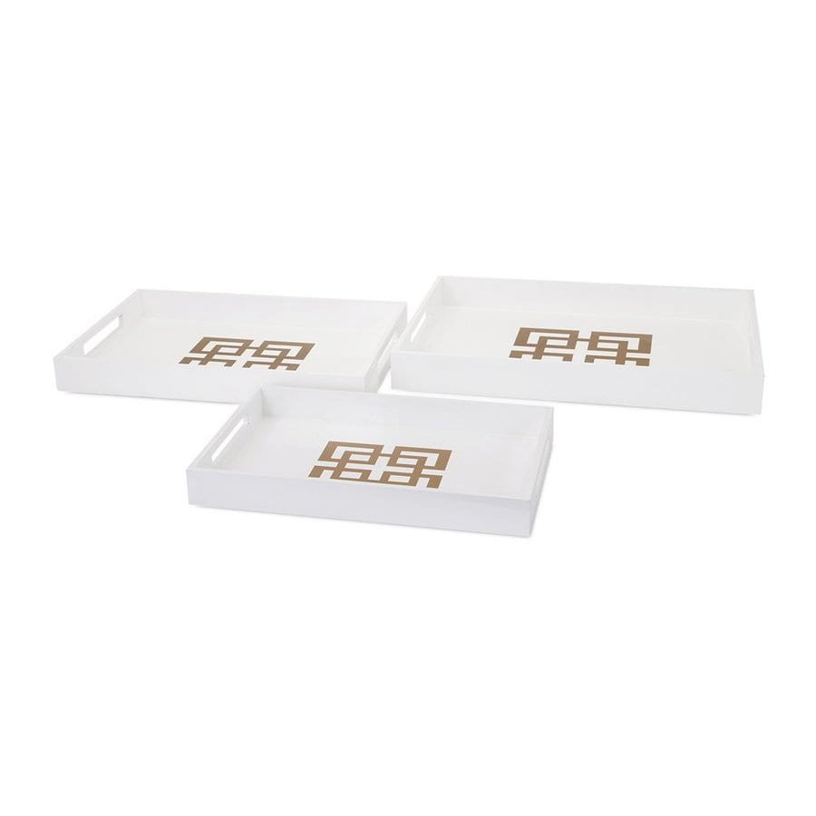 Imax Worldwide Set of 3 White Lacquer Trays