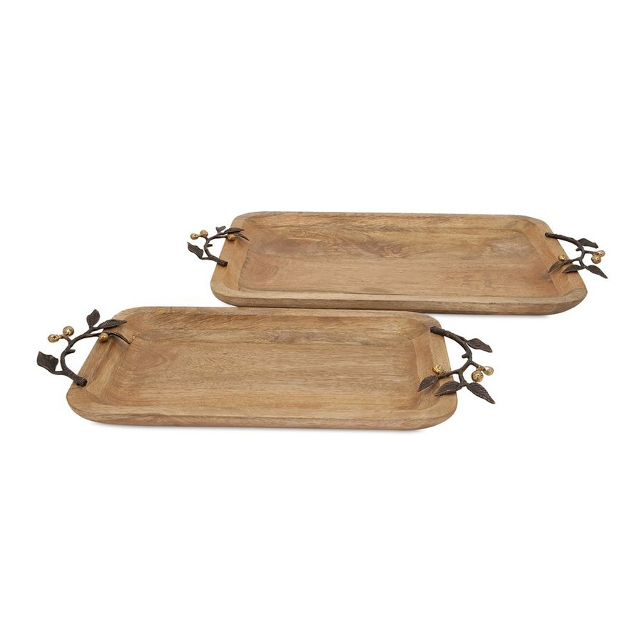 Imax Worldwide Victoria Set of 2 Wood Rectangular Serving Trays