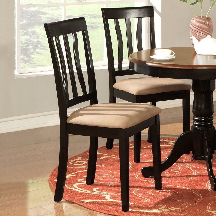 East West Furniture Set of 2 Black Side Chairs