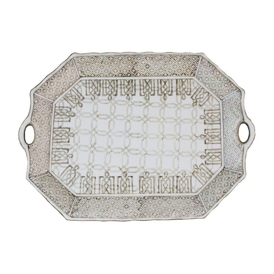 IMPORT COLLECTION Edward 18.5-in x 13-in Ceramic Octagonal Serving Tray