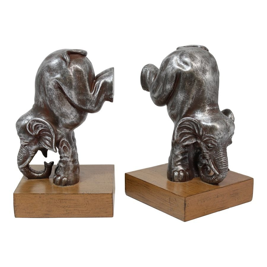IMPORT COLLECTION Set of 2 Resin Elephant Bookends