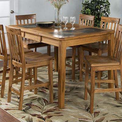 Sunny Designs Sedona Rustic Oak Wood Extending Dining Table