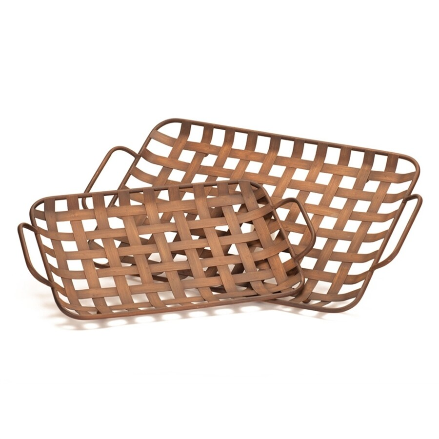 Melrose International Set of 2 Basket Weave Rectangular Serving Trays