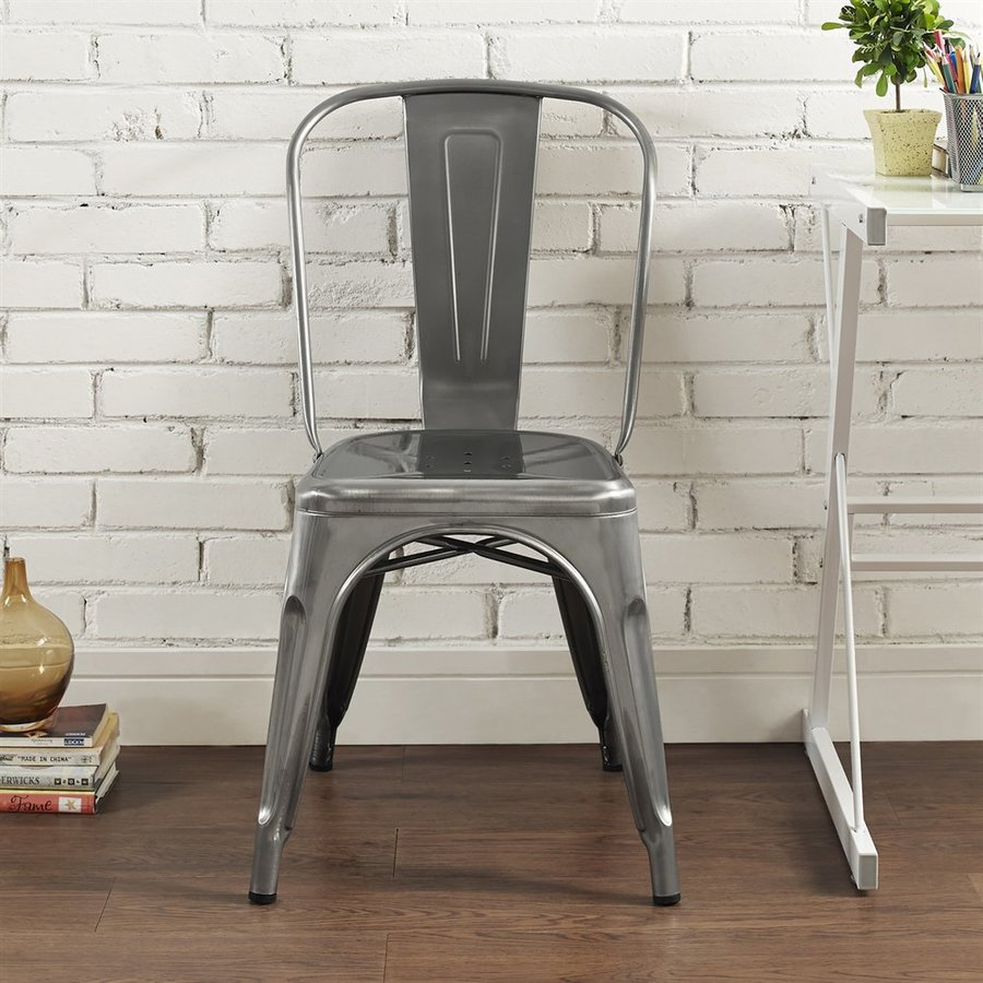 Walker Edison Contemporary Gun Metal Side Chair