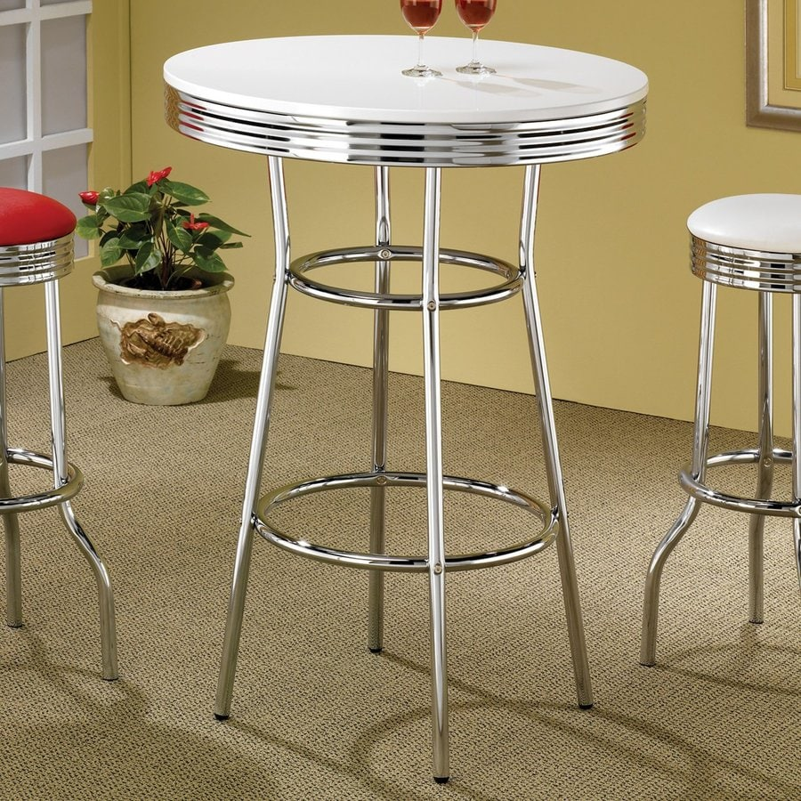 Coaster Fine Furniture Soda Fountain White/Chrome Round Bistro Table