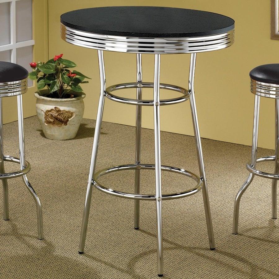 Coaster Fine Furniture Soda Fountain Black/Chrome Round Bistro Table